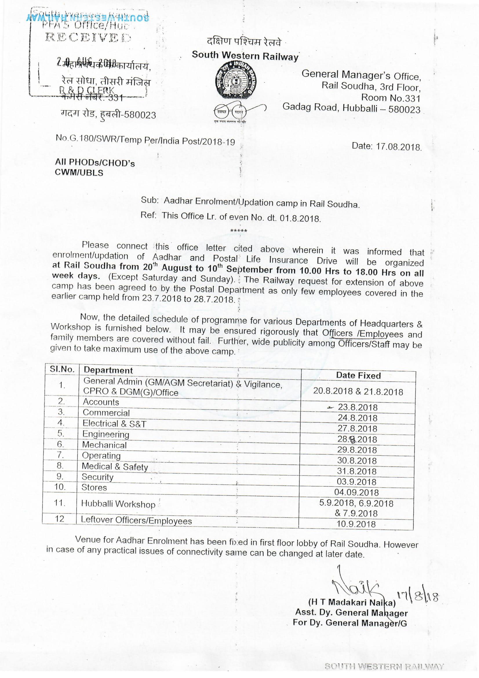 Adhaar Updation in Rail Soudha